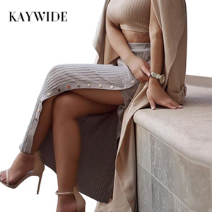 High Waist Women Spring Knitted Skirt Fashion Sexy High Split Summer Slim Fit Maxi Long Skirts For Women Streetwear