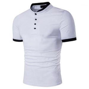 Manga machos Polo Pullover Sports T-shirt Moda Mens Polos Verão Designer slim Collar Curto