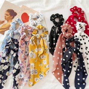 Cuerda cola de caballo de Scrunchie lazos del pelo de la bufanda elástico del pelo del arco del pelo lazos de cinta Scrunchies Hairbands accesorios de la flor del punto 10 diseños DW5480