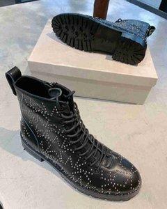 Venta caliente-lujo nuevas estrellas botas de remache femenino JC para mujer Martin Army Knight motocicleta cuero de vaca talla 35-42