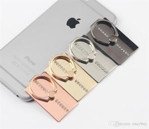 Universal Diamante de luxo Retângulo Dedo anel titular Mount Stand Holder telefone celular para telefones Samsung S9 Xiaomi móveis