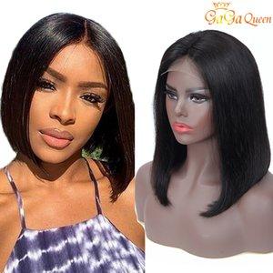 Человеческие волосы кружева фронтальный парик бразильский прямой BOB 4x4 Bob короткие кружевные парики 150% плотность натуральный цвет гагавиных волос