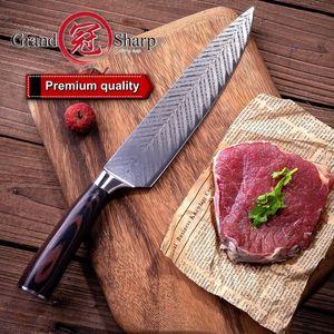 Grandsharp 8 Inch Chef Kitchen Knife Laser Damascus Pattern Stainless Steel High Carbon Vegetable Sushi Sashimi Kitchen Knife