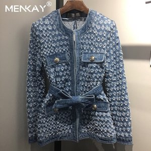 [MENKAY] de la vendimia de las mujeres chaqueta de Jean witrh Cinturón 2019 de otoño de manga larga bolsillos Denim Jackets mujeres sueltan Outwear Mujer