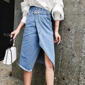 Casual High Waist Irregular Split Women Jean Skirt Tassel Streetwear Stretch Skinny Female Pencil Skirt 2020 Blue Pockets Denim