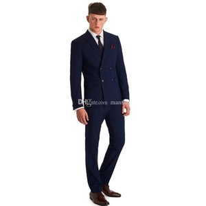 Custom Design Groomsmen Notch Lapel Groom Tuxedos Navy Blue Men Suits Wedding Prom Best Man Blazer( Jacket+Pants+ Tie )M294