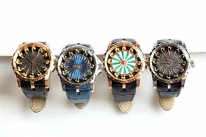 Vente chaude luxe Fahion Date de cuir Wrist Watch Roger Chevaliers de la Table Ronde en acier inoxydable Designer Montres Mouvement Quartz cadeau Sport