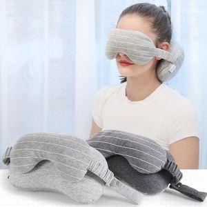 Neck Pillow Eye Masque Coussin Portable Voyage Head Neck Vol sommeil de repos Blackout Lunettes Blindfold Ombre LXL1113-1