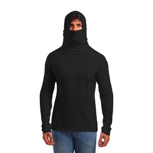 2018 marchio di abbigliamento 4 colori con cappuccio da uomo con maschera moda maschile maglietta maglietta fitness casuale: Uomo maglietta M-XXL
