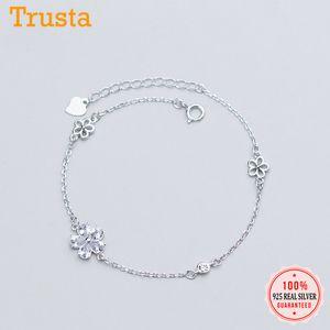 Trustdavis Moda Genuine DA757 Jóias 925 Sterling Prata Charme Flor doce CZ Bracelet Bangle para mulheres Sterling Silver