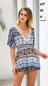 Mode-Frauen Sommer Casual V-Ausschnitt Blumenmuster Kurzarm Kurzarm Pullover und Strampler Gefälschte Kleider Club Anzug