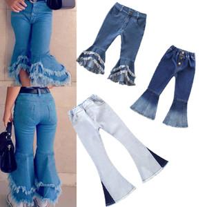 Meninas meninas calças jeans toddler bebê flare calças crianças meninas outono borla borla splice calças adolescentes bolso casual outfits 06