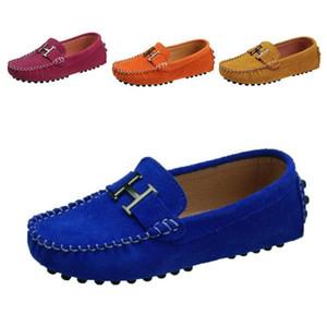 Весна детей спортивной обуви Мальчики Девочки Single Повседневная обувь Кожа PU ягнятся бездельников Девочки Мальчики кроссовки дышащий лодка Flats 25-35
