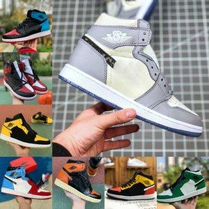 Jumpman High 1 OG GS X-Men Баскетбольная обувь обсидиан ASG UNC Багровый Оттенок бесстрашным запретило Retroes 1S Чикаго Женщины Белый Серый Спортивная обувь