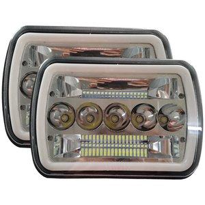 7X6 LED-Scheinwerfer 5X7 LED-Scheinwerfer mit Blinker DRL Weiß Halo Sealed-Beam für Wrangler YJ
