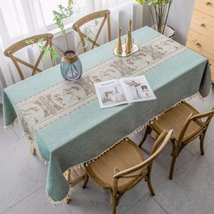 Luxury Embroidered Tablecloth Upscale Linen Cotton Relief Painting Pattern Table cloth Pendant Decor Waterproof Rectangle Table T200707