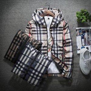 Trend Personality Mens Designer Jackets Side Slit Pocket Hooded Jacket Fashion Print Youngth Windbreaker