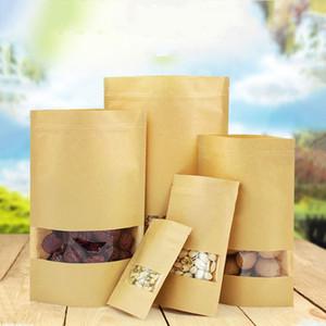 Papel kraft bolsa con ventana 100PCS / LOT Stand Up bolsa de la cremallera del bolso con la ventana del negocio Alimentación bolsas de almacenamiento