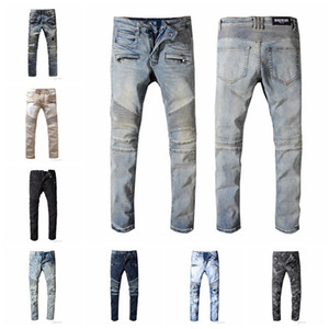 2019 BalmainHomens afligido rasgado Biker Jeans Slim Fit Motociclista Denim For Men Fashion Designer Hip Hop Jeans Mens