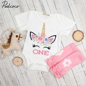 3шт новорожденный младенец девочка одежда с коротким рукавом O-образным вырезом цветочный принт боди наряды набор 3-18 месяцев Helen115