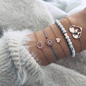 Gioielli 5PCS insieme del braccialetto della Boemia della Bianco Lava cuore Mappa Lotus Bracciali Charm fiore di pietra per le donne Accessori Armband