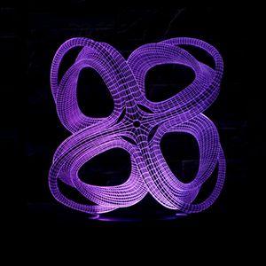 Comércio Novo Padrão 4 Círculo Abstrato Colorido 3d Pequeno Night-light Originalidade Toque Controle Remoto Desktop Economia De Energia Levou Lâmpada de Mesa