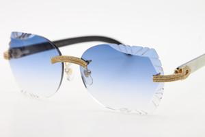 Büyük Taşlar Gözlük 3524012 Rimless Beyaz İç Siyah Buffalo Horn Güneş Unisex kedi gözü gözlükler Lens Oyma Üstün Tedarikçiler