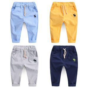 Erkek Sonbahar Pantolon Çocuk Pantolon Giyim Çocuk Bebek Legging Ince Pamuk Keten Sıcak Yaz Moda Yeni Nakış Geyik