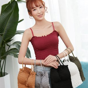 Women Padded Bra Shirt Spaghetti Sleeveless Vest Ruffled Crop Top Cami Tank Tops Shirt Blouse