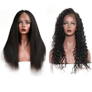 A Lace Frontal Wigs With Baby Hair Deep Wave Kinky Straight Hair Mongolian 100 %Human Hair 150 %Density Natural Color 8 -28 Inches