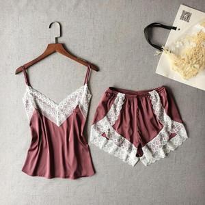 Donne indumenti da notte sexy raso Pajama Set White Lace V-Neck pigiama a maniche Carino Cami top e shorts