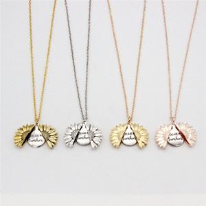 Sunflower Halskette Valentine Geschenk GoldLocket Can Open-Anhänger-Halskette Sie sind mein Sonnenschein für Frau Geschenk A03