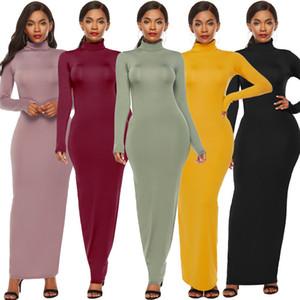 Plus Size Stretch Turtle Neck Frauen Bodycon Kleider dünne Solid Color Langarm Sexy Damen Kleider