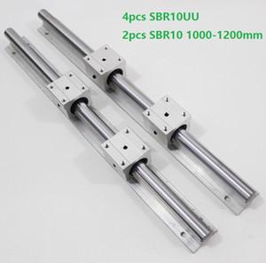 2 pcs SBR10 1000mm / 1100mm / 1200mm guia de trilho de suporte ferroviário linear + 4 pcs SBR10UU lineares rolamentos de rolamento para peças de roteador CNC