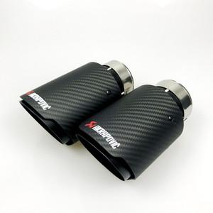 Free Shipping Black Universal Various Sizes Akrapovic Carbon Fibre Car Exhaust Muffler Tip Straight Matte + Black Coated