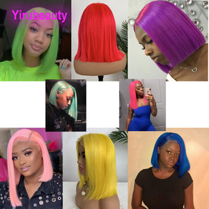 Brezilyalı Virgin Saç Bob Peruk 4X4 Dantel kapatma Peruk Sarı Kırmızı Mavi Turuncu Pembe Perulu Malezyalı Dantel Ön İnsan Saç Peruk 12-16inch
