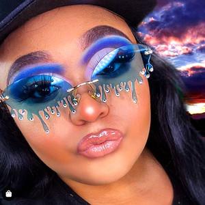 2020 Randlose Sonnenbrille Frauen Mode Vintage Einzigartige Tränen Form Steampunk Sonnenbrille Weibliche gafas Shades UV400 Oculos Feminino