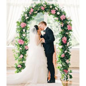 Arche de mariage métal fleur photo Porte ronde Toile de fond de jardin usine Arc Epoux rustique de soirée de mariage Favors Décoration