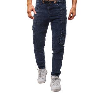 Pantalone jeans blu con tasche a forma di jeans blu primavera estate 19ss Pantaloni casual a tinta unita blu denim