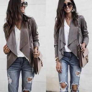 Damen der Frauen Langarm-Wasserfall-Jacken Damen-Mantel Strickjacke Blazer-Mantel vorne offen Suede-Jacken-Mantel