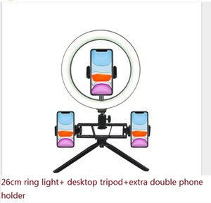 With tripod Photography LED Selfie Ring Light 26cm three-speed Stepless Lighting With Phone Holder Makeup Video Live Studio CRexpress