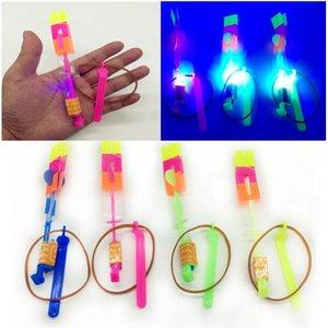 Selling Children'S Plastic Slingshot Blue Led Light Rocket Child Outdoor Toys Catapult Flying Fairy Mushroom Holiday Happy Time HjpUs