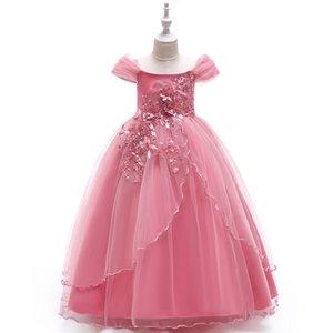2020 Wedding Flower Girls' Dresses word shoulder princess skirt wedding flower girl ankle length pettiskirt girl catwalk costume
