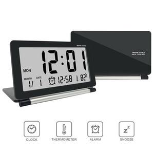 Hot Electronic Alarm Clock Reloj de viaje Multifunción Silencioso LED Digital Pantalla grande Plegable Escritorio Reloj Temperatura Temperatura Hora Hora