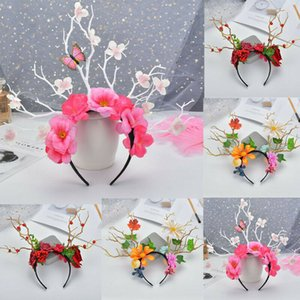 Women Wedding Party Gothic Branches Flower Xmas Antler Costume Girl Hair Garland Crown Headband Floral Wreath Hairband Props