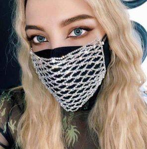 Bling Rhinestone Mask Mesh Rhinestone Face Mask Jewlery for Women Hollow Elastic Face Body Jewelry Night Club Party Masks GGA3437-4