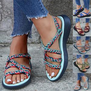 Moda antiderrapante Womail Sandals Mulheres Plataforma de Mulheres Strappy Plano Esportes Praia Caminhada Andar verão respirável exterior sapatos