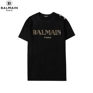 Summer Street Wear Designers T-shirt Homens de luxo da marca T-shirt Mens Casual camiseta Moda Imprimir Crew Neck Cotton T-shirt M # Balmain-4XL