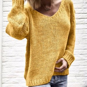 Fall Winter Women Loose Plus Size Sweaters Pullovers Knitted V Neck Sweaters Solid Long Sleeve Jumper