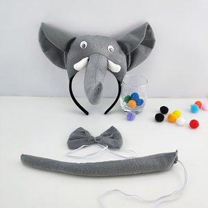 3 pièces Accessoires cheveux Accessoires pour enfants Animaux Oreilles Mignon Bandeau Parti cravate et la queue cosplay Costume Party Favors Elephants Accessoires cheveux